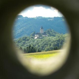 Blick auf das Schloss Neuhaus an der Donau
