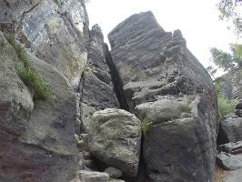 Foto Die Falkenschlucht (Kamin in der Bildmitte) - dort geht es durch