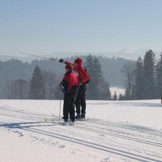 Langlauf in Isny Maierhöfen. Blick ins Voralpenland
