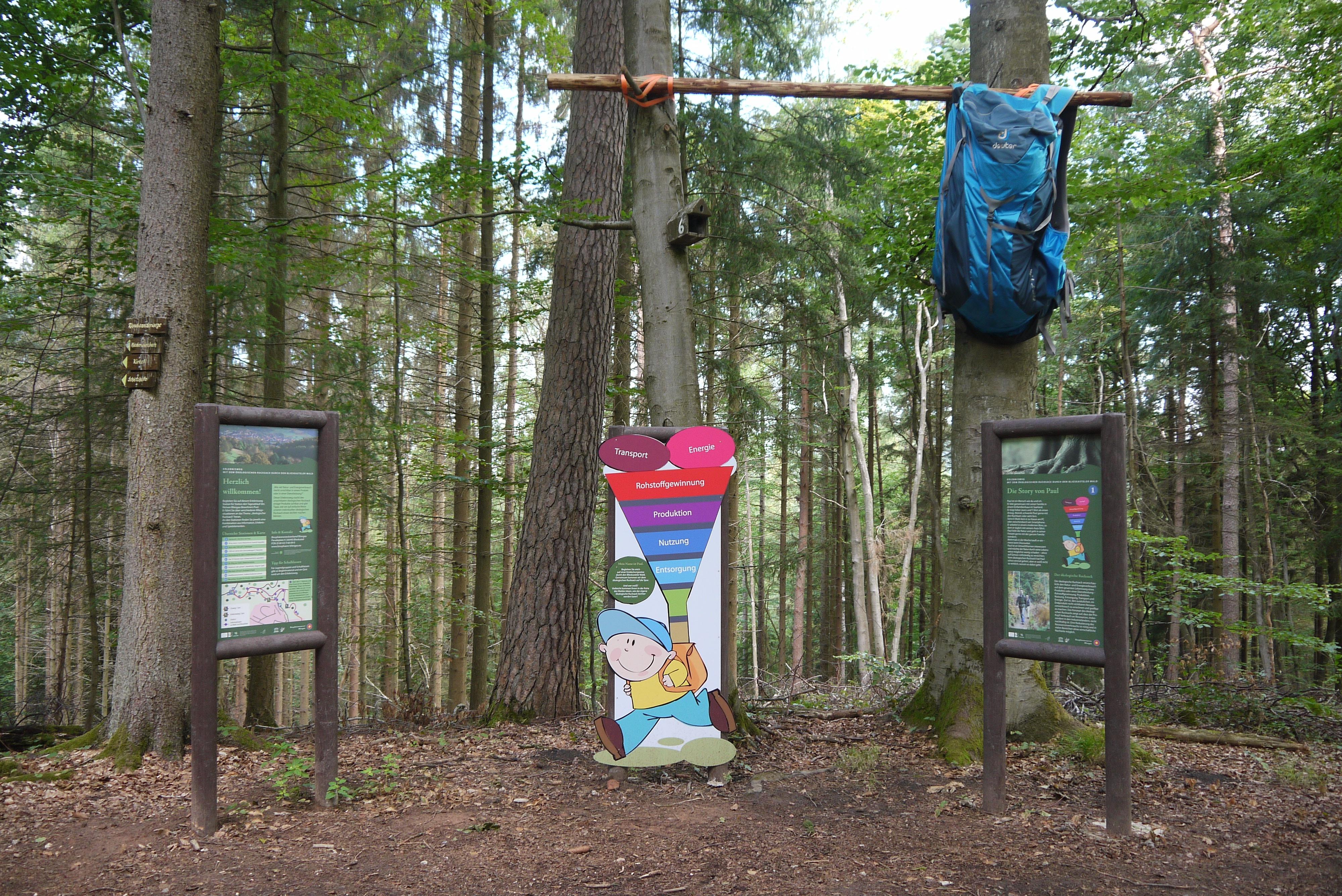 """Start des Erlebniswegs """"Mit dem ökologischen Rucksack durch den Blieskasteler Wald"""""""