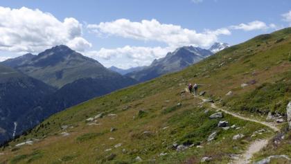 Auf dem Höhenweg; li. das Deferegger Pfannhorn, re. der Hochgall