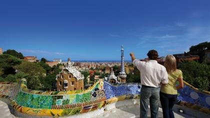 Barcelona-View over the city from Park Güell