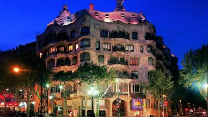 Casa Milà at night