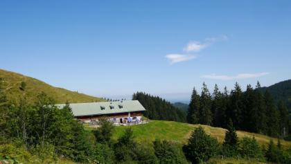 Blick auf die bewirtschaftete Schnitzlertal-Alpe
