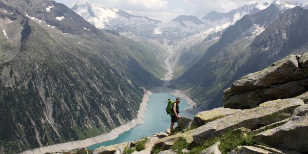 Blick vom Berliner Höhenweg zum Olperer Gletscher
