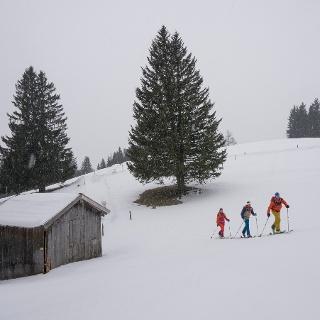 Kurz nach dem Start zur Skitour zur Schwalbenwand