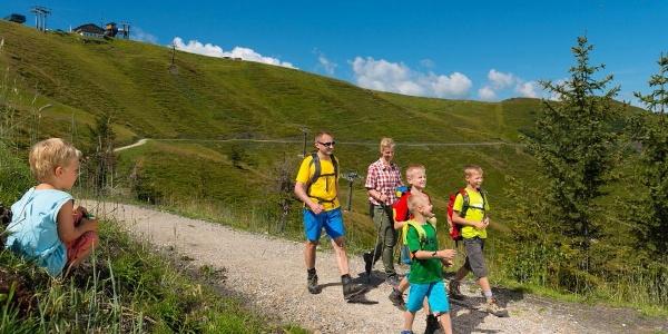 Familien wandern am Kinderwagen-Höhenweg