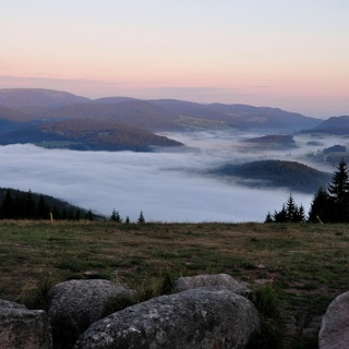 Blick vom Hochfirst zum Titisee und Feldberg im Nebel