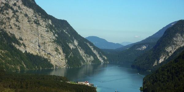 Ausblick vom Sagereckersteig zum Königssee