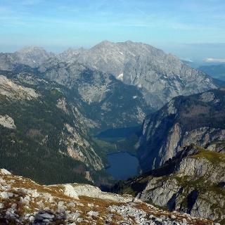 Watzmann Ostwand mit Königssee und Obersee