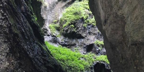 Blick durch eine Felsspalte in der Breitachklamm
