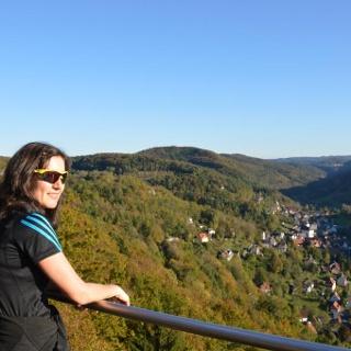 auf dem Höhenweg, Blick vom Brünhildenstein auf Muggendorf