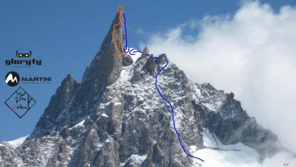 Dent du Geant - Übersichtsfoto mit Route
