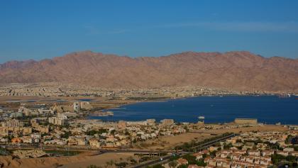 Blick auf Eilat und das Rote Meer