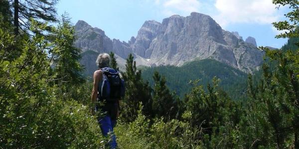 Salendo verso il passo Siera. Sullo sfondo il Cadin delle Vette Nere e il Creton dell'Arco