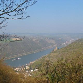 Blick auf Burg Gutenfels-weiter hinten liegt Oberwesel