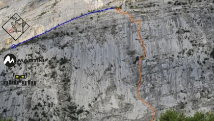 Rita in der Sonnenplatte (Parete Zebrate) Topo - Route in Foto