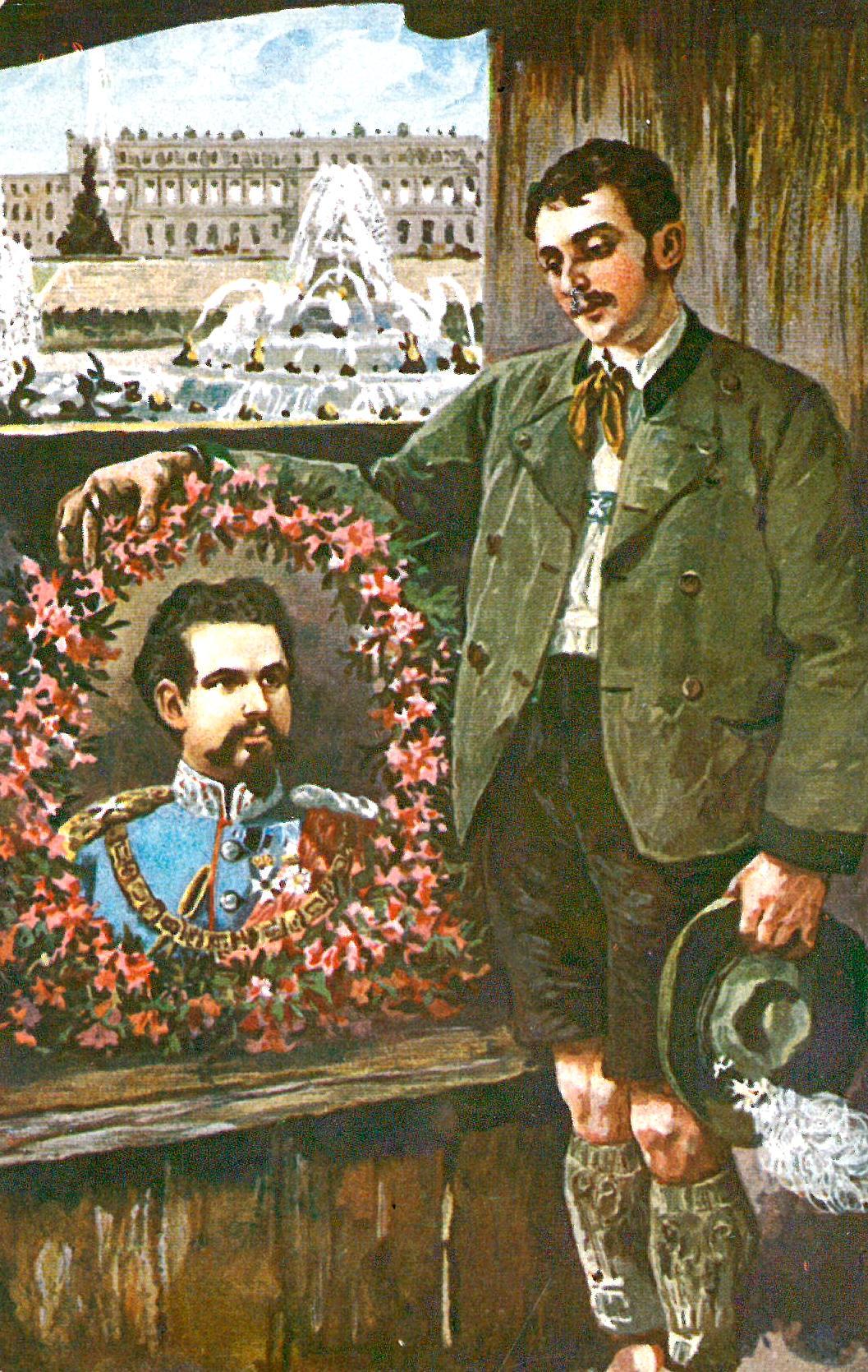 Postkarte von König Ludwig II. und dem Schloss Herrenchiemsee