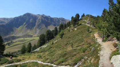 Von linkskommend der Aufstieg und der Weiterweg Richtung Speikboden (In Bildmitte)