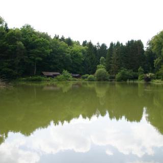 Becherbacher Weiher mit Anglerhütte