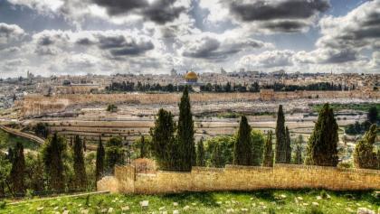 מבט על העיר העתיקה של ירושלים והר הבית
