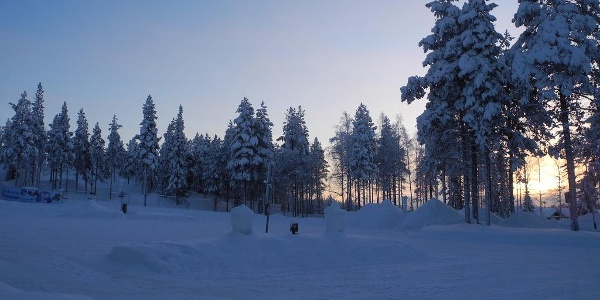 Herrlich verschneite Landschaft rund um Rovaniemi
