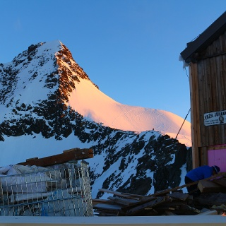 Blick von der Adlersruhe zum Glocknerleitl und zum Gipfel.