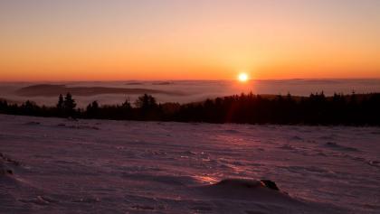 Sonnenaufgang am Kahlen Asten im Winter