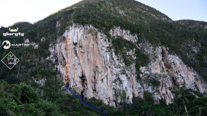 Klettergarten Costanera - Mucho Pumpito eingezeichnet - Topo