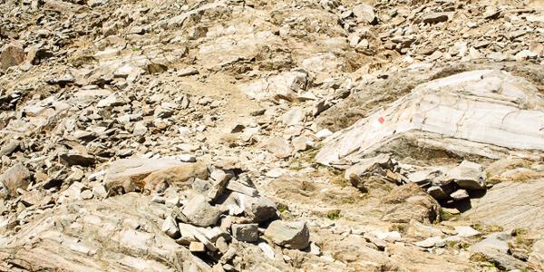 Einstieg in den etwas alpineren Weg zum Gipfel Hintereis direkt an der Hütte