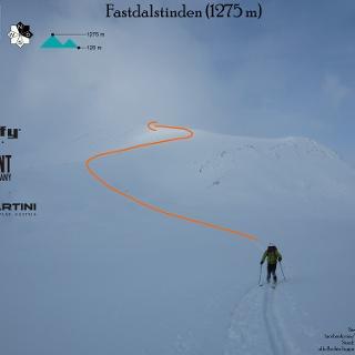 Fastdalstinden - Route in Foto eingezeichnet