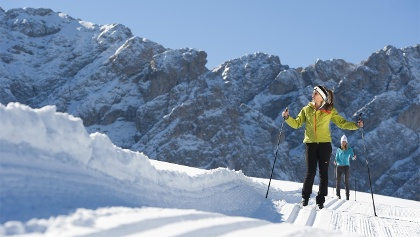Cross-country skiing at the Passo delle Erbe