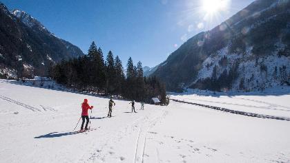 Langläufer auf der Sportloipe in Richtung Tettermoor