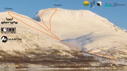 Storgalten - Übersichtsbild mit eingezeichneter Route