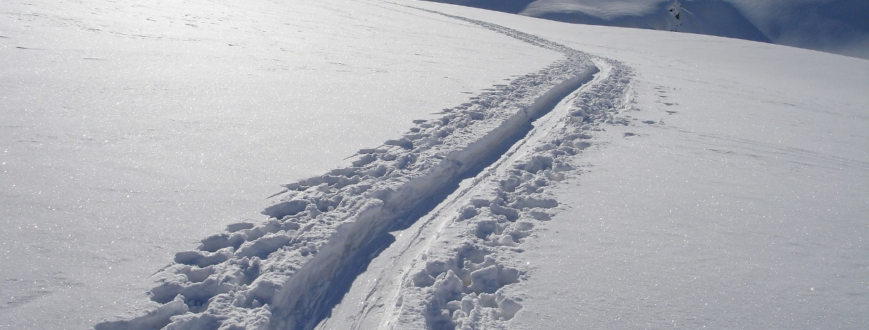 Skitourengehen in verschneiter Landschaft