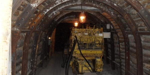 Bohrwagen im Streckenvortrieb, Bergwerk Ronneburg