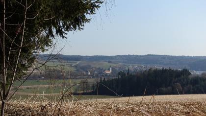 Blick auf Arth mit dem Golfplatz am Horizont
