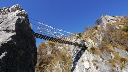 Die Hängebrücke auf dem Percorso attrezzato Sass Brusai