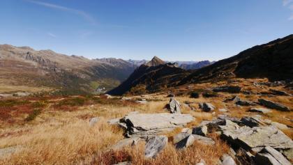 Felsblöcke prägen das Landschaftsbild am Passo Quadrella.