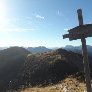 Sagranberg mit Blick auf Mt. Cocco und Cima Bella (von Links)