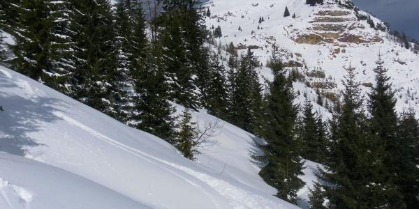 unter dem Kamm mit Bilck zum Gipfel