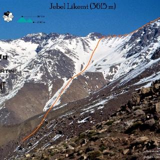 Jebel Likemt - Topo Route in Foto