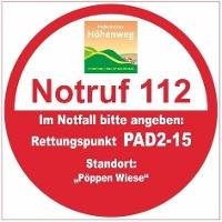 """Rettungspunkt PAD2-15: """"Pöppen Wiese"""""""