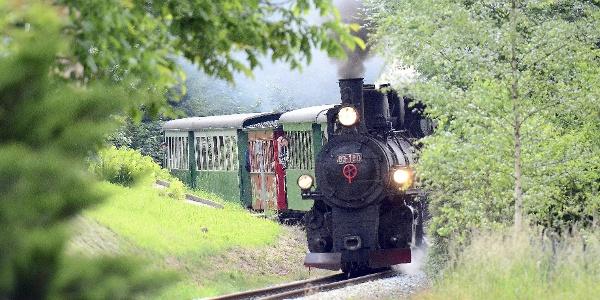 Die Feistritztalbahn führt von Weiz bis Birkfeld im Joglland
