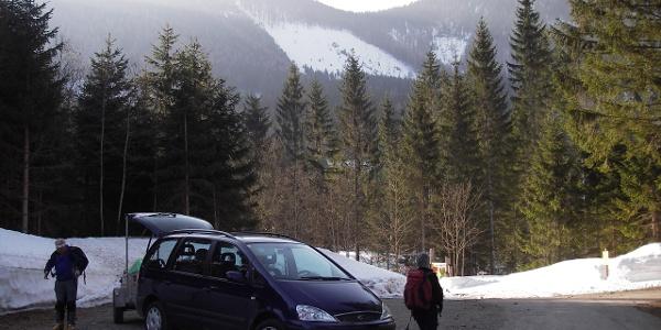 Start am Parkplatz in Hochreit beim Leckermoor