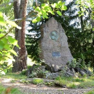 Ein Waldweg führt zum Denkmal