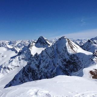 Blick von der Schneeglocke zum Slivrettahorn, Signalhorn, Egghorn, Biz Buin, Dreiländerspitz