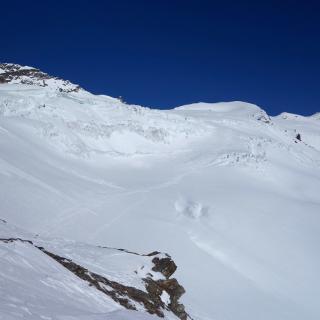 Erster guter Blick auf den Eisbruch und die Spaltenzonen.