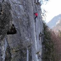 Kletterer im Abendrot-Klettersteig