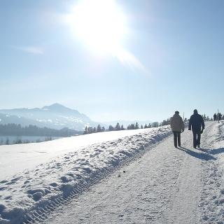 Winterwanderer am Rottachsee